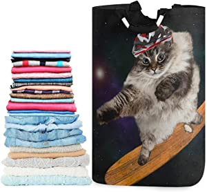 visesunny Collapsible Laundry Basket Cool Cat with Skateboard Animal Large Laundry Hamper with Handle Toys and Clothing Organization for Bathroom, Bedroom, Home, Dorm, Travel