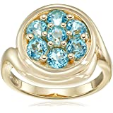 18k Yellow Gold over Sterling Silver Blue Topaz Ring, Size 7