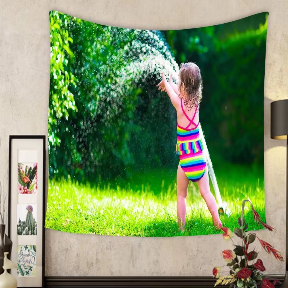 Grace Little Custom tapestry child playing with garden sprinkler kid in bathing suit running and jumping kids gardening