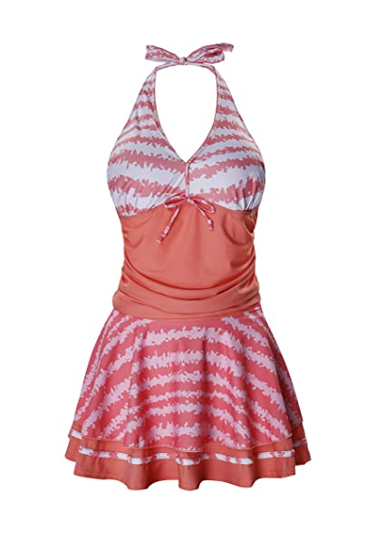 8a3e60682a4b3 crazycatz Womens Tankini Swimsuit Halter Neck Swimwear Top and Pantskirt at  Amazon Women's Clothing store: