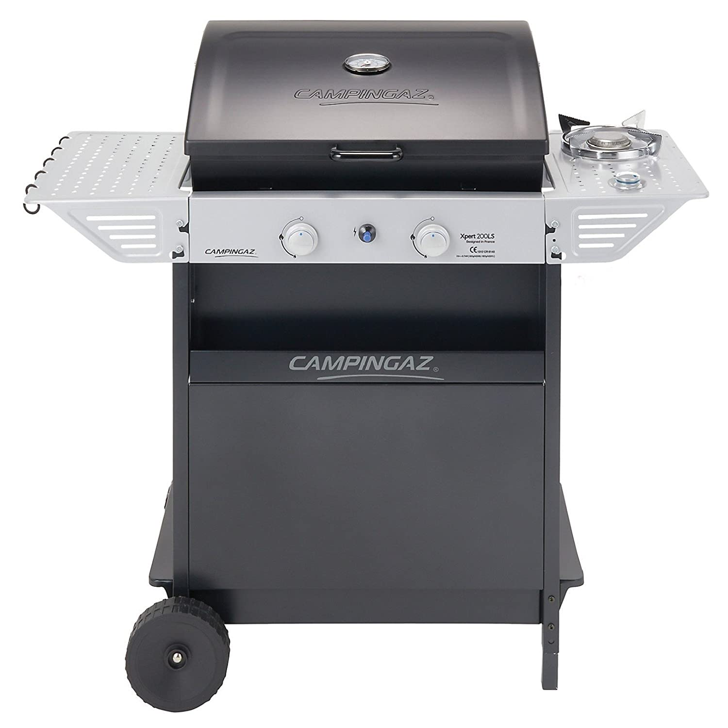 Campingaz Gas BBQ Xpert 200 LS, Compact 2+1 Burner Gas Barbecue Grill, 2 Stamped Steel Grids, Side Table and Steel BBQ Trolley 3000004833