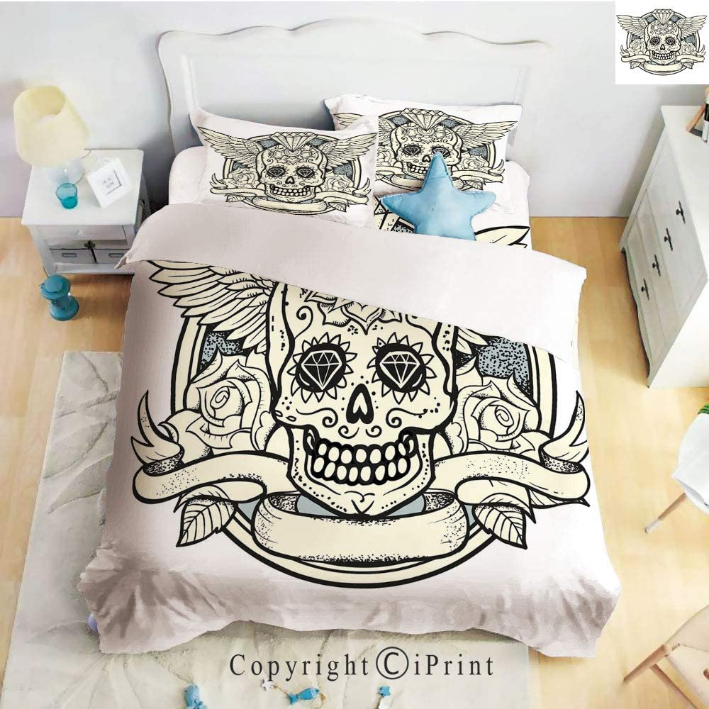 Home 4 Pieces Sheet Sets Microfiber Soft Wrinkle Fade Resistant,Illustration of Calavera Diamond Figure and Roses Vintage Revival Decorative,Cream Grey Black,Twin Size