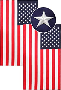 PLTCAT American Flag, Embroidered Stars and Double Edge Sewing, Brass Grommets Nylon US Flag Built for Outdoor and Indoor Use, Office Workplace Home Garden Business (12'' × 18'')