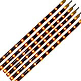 DC 12V Waterproof 1Ft 12 LED Strip Underbody Light with 6 inches wires for motor (Amber/Yellow,Pack of 6)