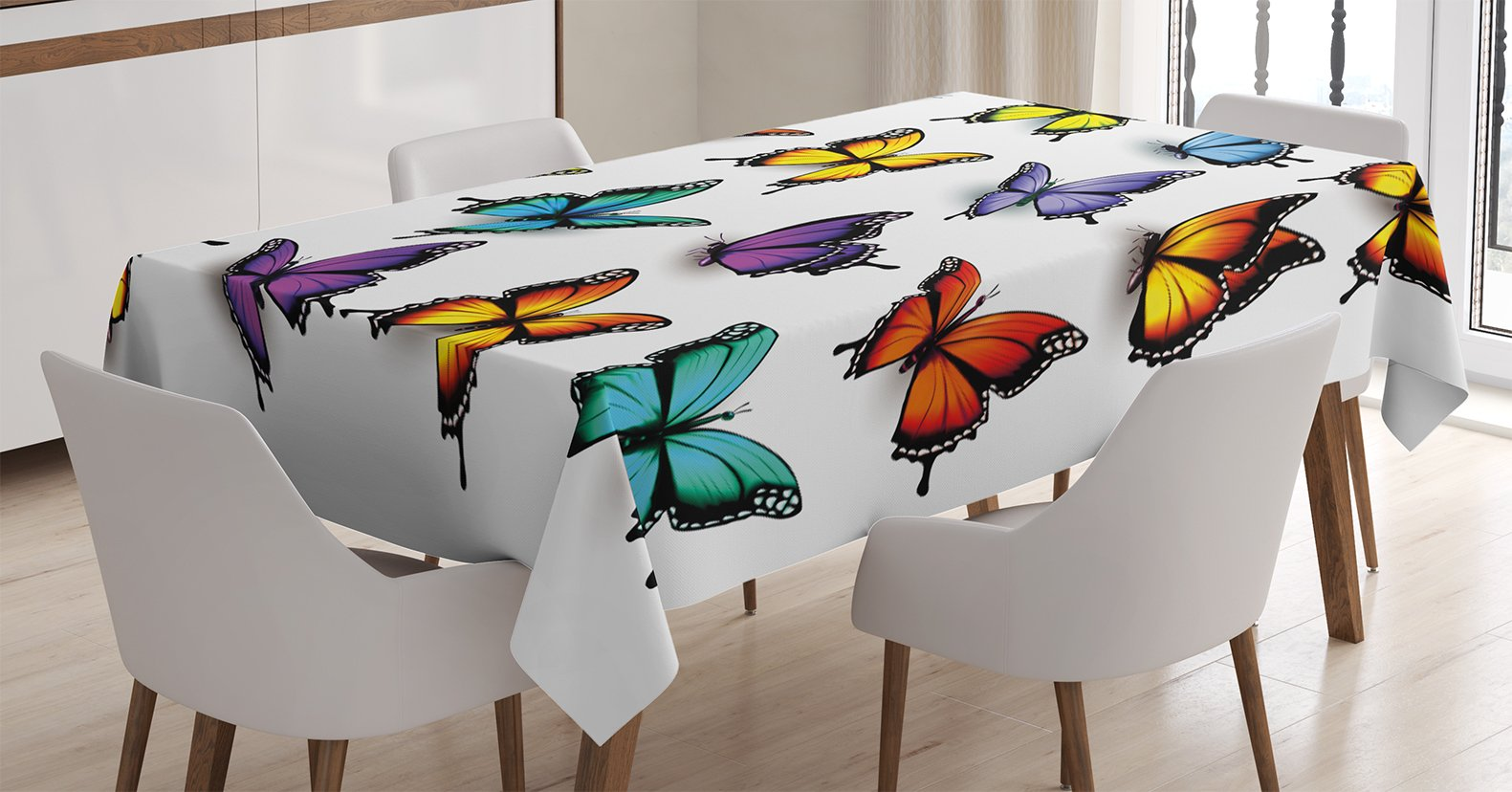 Ambesonne Butterfly Tablecloth, Cute Colorful Moth Figures Spiritual Wings Animal Spring Inspirational Design, Dining Room Kitchen Rectangular Table Cover, 60 W X 90 L inches, Multicolor