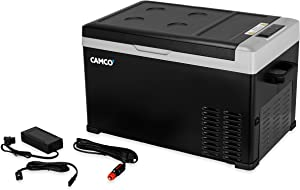 Camco 51512 CAM-300 Portable Refrigerator, AC 110V/DC 12V Compact Fridge/Freezer, 30-Liter - Keeps Food and Drinks Cold While On-The-Go - Ideal for Road Trips, RVing, Camping, Boating and Tailgating