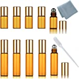 SIMPLE-E Set of 10 Refillable Amber 5ml (5PCS) 1/6oz + 3ML (5PCS) Roll on Glass Bottle for Essential Oil - Empty Aromatherapy Perfume Bottles with Metal Roller Ball + FREE Pipette Dropper
