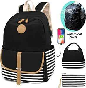 SCIONE School Backpacks for Teen Girls with USB Charging Port and Backpack Cover Lightweight Canvas Stripe Backpack Cute Teen Bookpacks Set Bookbags+Insulated Lunch Bag+Pouch 3 in 1 black A Black 3 set
