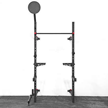Wall Mount Foldable Squat Rack with Accessories (Pullup Bar, Dip Station, Landmine,