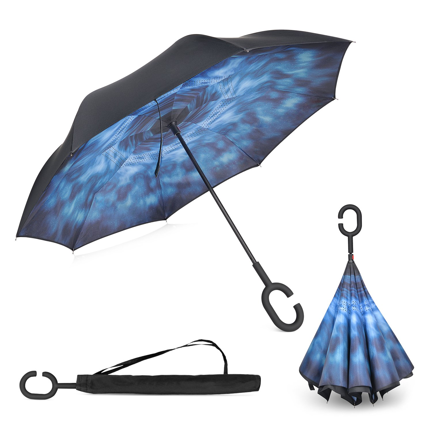 Elover Inverted Umbrella with C-Shaped Handle Inside Out Windproof Umbrella Upside Down Reverse Umbrella Double Layer Travel Umbrella