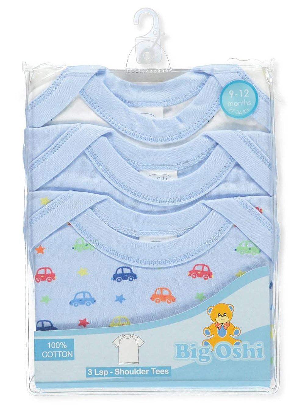 BIG OSHI Baby 3 Pack Lap Shoulder Crewneck Undershirt T-Shirts PLK-803