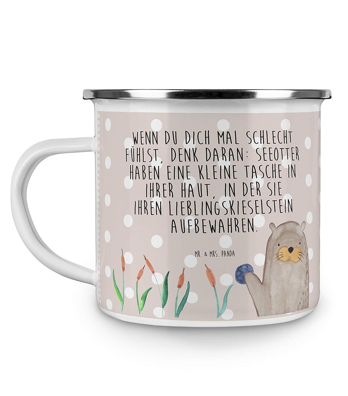 Mr. & Mrs. Panda Emaille Tasse Otter mit Stein - Otter Seeotter See Otter Emaille Tasse, Metalltasse, Kaffeetasse, Tasse, Becher, Kaffeebecher, Camping, Campingbecher
