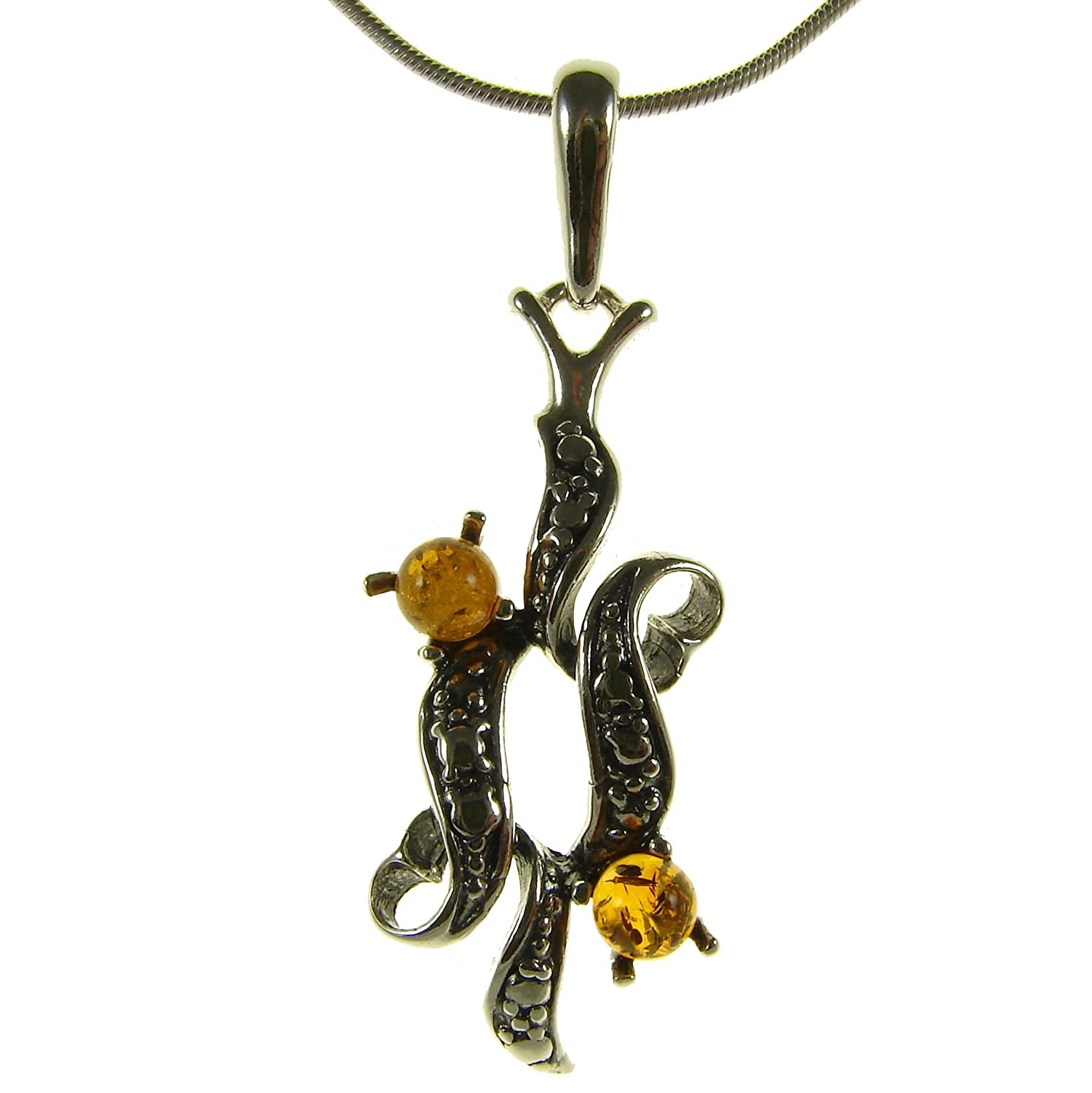 Baltic amber and sterling silver 925 designer cognac gift wrap present pendant necklace 10 12 14 16 18 20 22 24 26 28 30 32 34 36 38 40 1mm ITALIAN SNAKE CHAIN