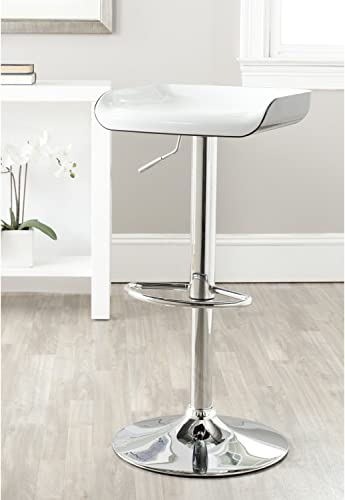 Safavieh Home Collection Rameka White and Black Swivel Adjustable Gas Lift 23.6-32-inch Bar Stool