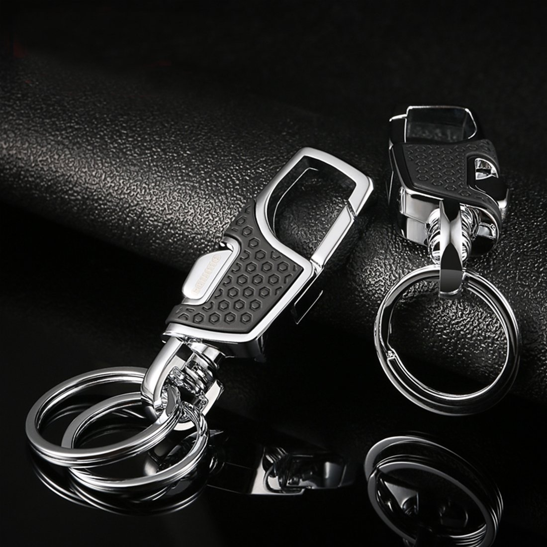 Heavy Duty Car Keychain for Men and Women Lancher Key Chain with Black 2 Extra Key Rings and Gift Box
