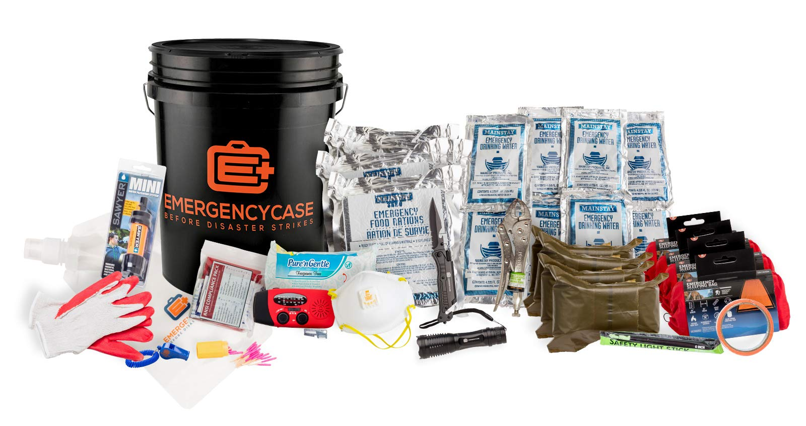 Emergency Case - Family Black Budget Bucket Emergency Kit - 4 Person 3 Days w/Food, Water, Medical and Sleeping Bags