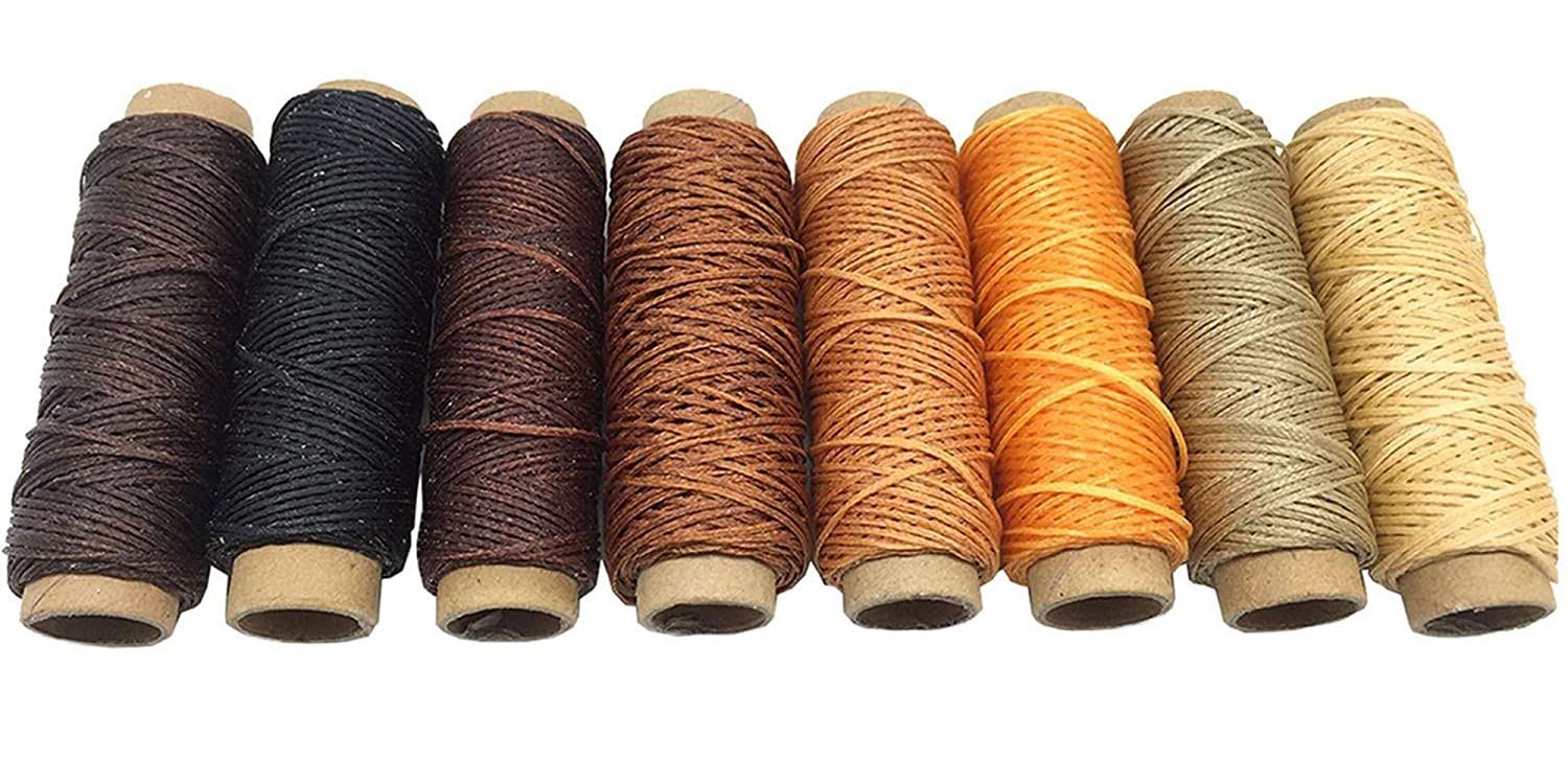 0.8 mm Flat Waxed Polyester Cord Thread - 30 M Leather Sewing Waxed Thread - Waxed Polyster Flat Thread Shoemaker - Pre-waxed Thread for Leather-Waxed Polyester Thread for Leather Hand Sewing Leather craft Beading Cord Bracelet Cord Jewelry Making Supplie