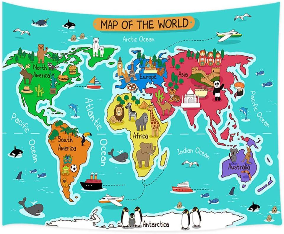 Amazon Com Cartoon World Map Tapestry Wanderlust Cartoon Animal