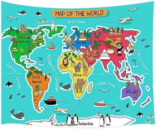 Tapiz con diseño de mapa del mundo de dibujos animados, mapa del ...