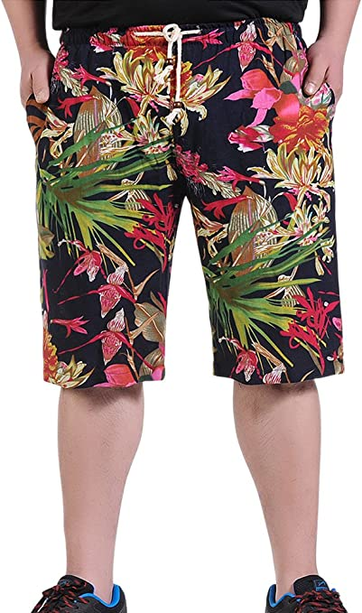 W28 = Tag L HENGAO Mens Linen African Floral Print Quick Dry Casual Shorts Elastic Waist Black