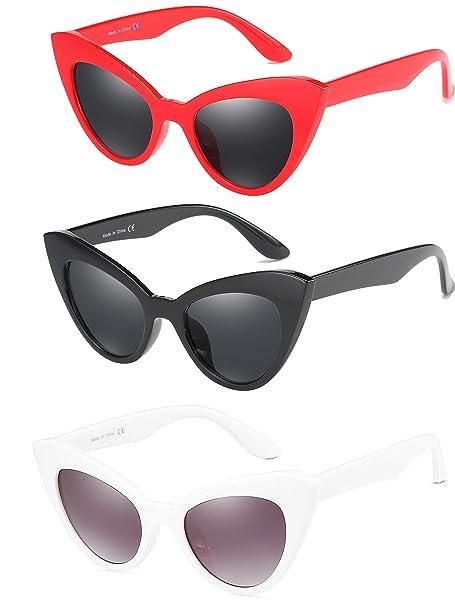 Amazon.com: Gafas de sol Cateye para mujer, marco de ...