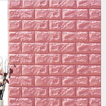 Amazon Com 3d Brick Wall Sticker Self Adhesive Wall Tiles 3d Wall Panels Peel And Stick Wallpaper For Living Room Bedroom Background Wall Decoration 1 Pack 30 3 X27 5 Pink Kitchen Dining