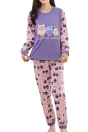 6ac0f8dbc816 Asherbaby Women s Owls Pattern Long Sleeve Pajamas Set Cute Sleepwear  Nighty Purple US S Tag