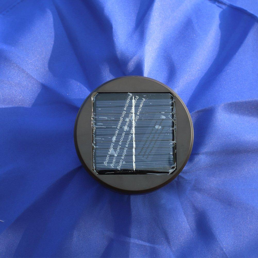 Kosycosy 10 ft LED Lighted Patio Umbrella LED Solar Power Table Market Umbrella, with Tilt Adjustment & Crank Lift System, for Outdoors, Patios (Blue)