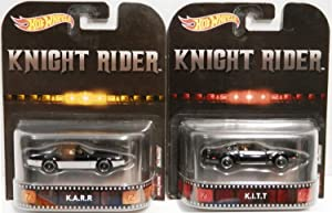 Hot Wheels Retro Knight Rider Set of 2 Variations: KITT & KARR Limited Edition 1:64 Scale Collectible Die Cast Metal Toy Car Models