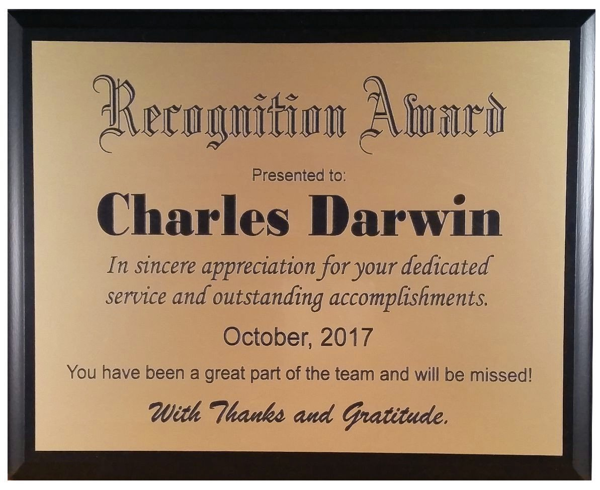 Recognition Plaque / Award - Customized to your specifications (Gold)