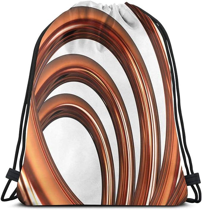 Odelia Palmer Bolsas de Mochilas con cordón Estampado, Espiral helicoidal Curvada en Forma de Espiral en Forma de Remolino sobre Fondo Blanco Estampado, Cierre de Cuerda Ajustable