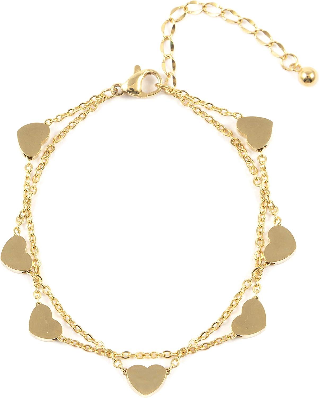 Happiness Boutique Damas Brazalete de Corazón en Oro | Brazalete Delicado a Capas con Colgantes Corazón Joyería de Titanio