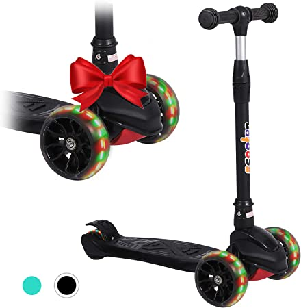 Tersework Kick Scooter, 3 Wheel Scooter for Kids with Light-Up Wheels Extra Wide PU and 4 Adjustable Heights for Boys & Girls Toddler Scooter Suitable for Age 3-12