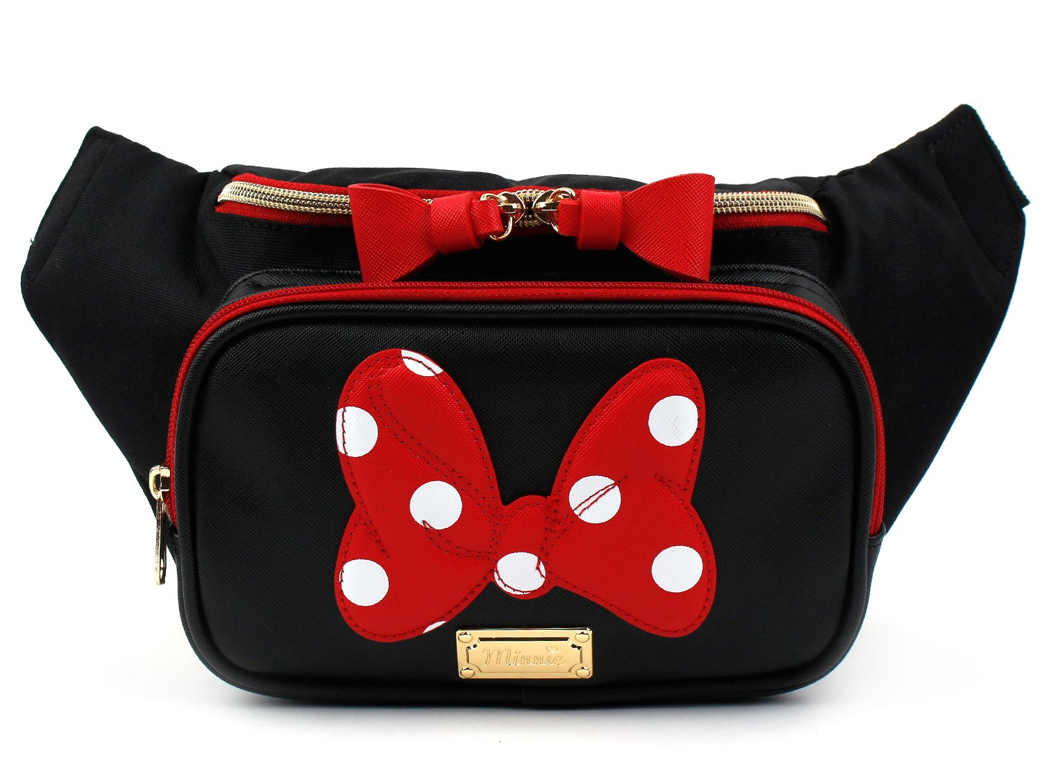 Disney Minnie Mouse Ribbon HipSack Waist Pack Fanny Sling Bag for Man Women Lady Girl Teens (Black)