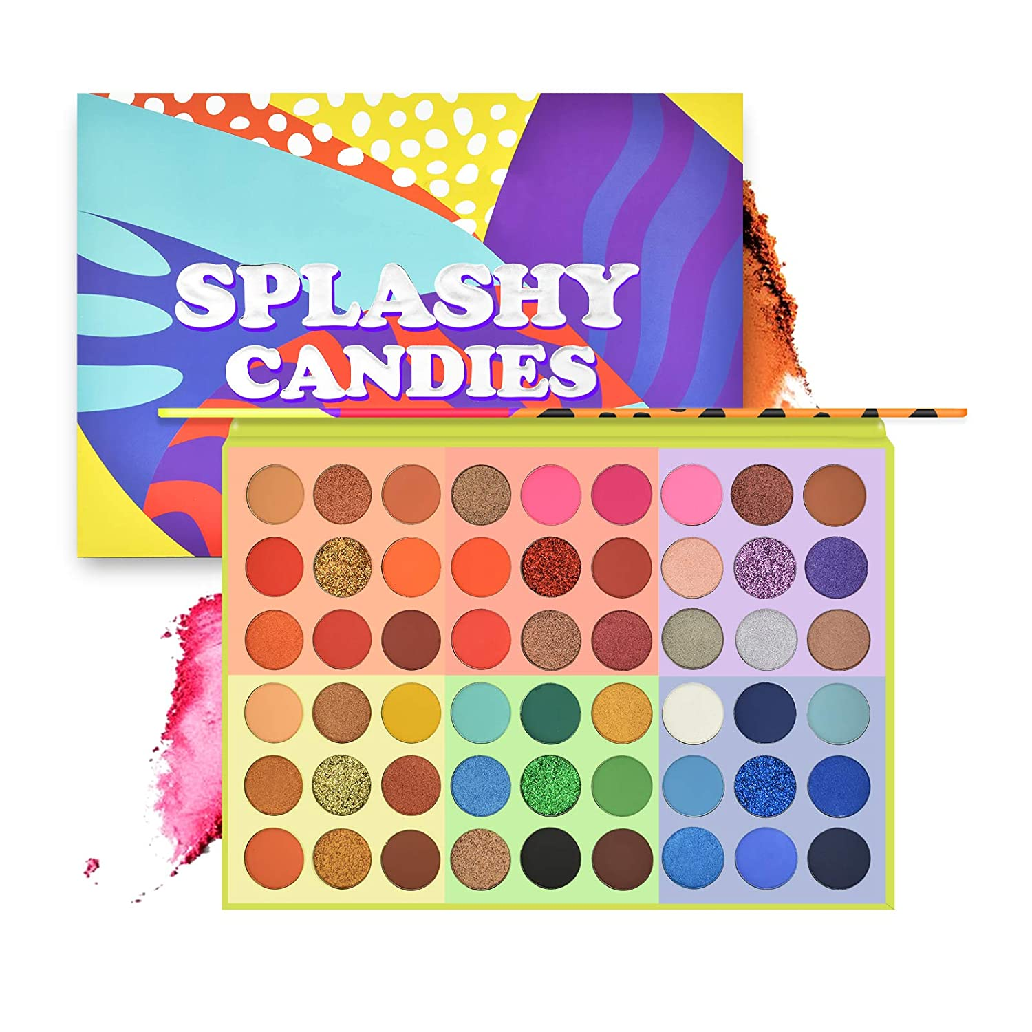 Ownest 54 Colors Eyeshadow Palette,Vibrant Candy Color Style Matte Shimmer Make Up Eyeshadow Powder Colorful Eyeshadow Powder Glitter Bright Eyeshadow Makeup Waterproof Long Lasting Makeup Pallet