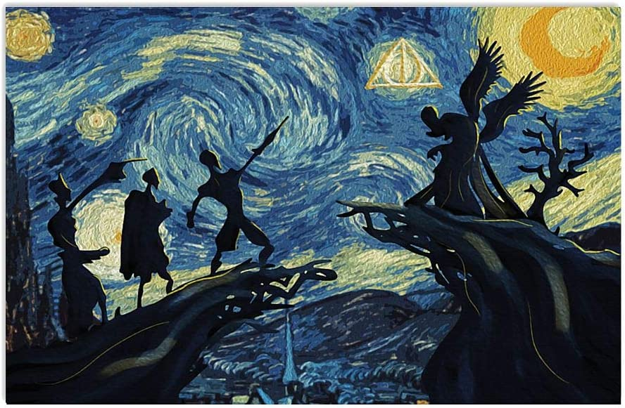 Deathly Hallow Three Brothers Magical Powerful Wizards Starry Night Van Gogh Style Horizontal Poster |Funny Gift for Home Decor Wall Art Print Poster |Full Size 18x12 24x16 36x24 40x27| Wizard Poster