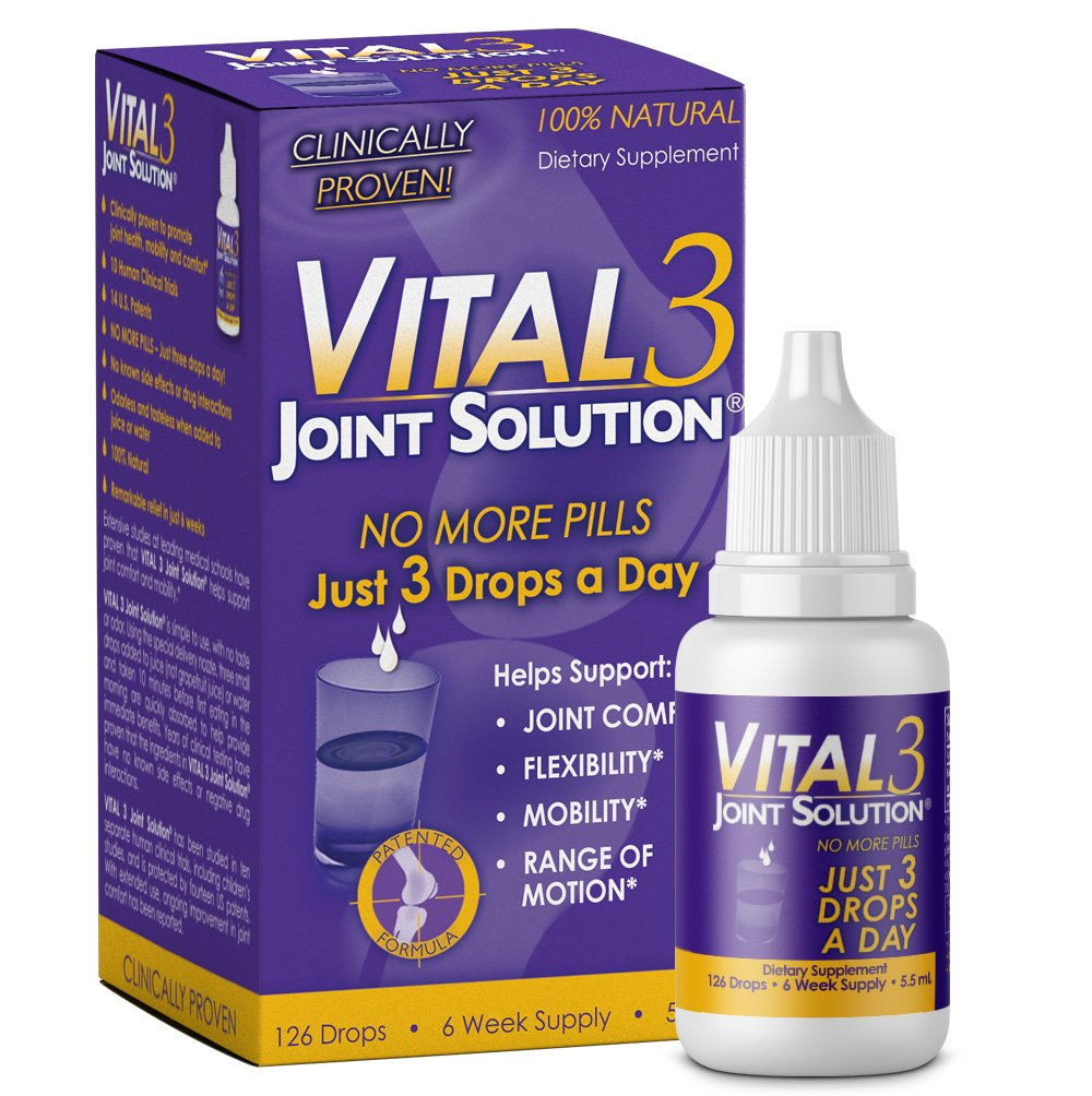 Vital 3 Joint Solution® Clinically Proven Liquid Knee Relief Supplement Biologically Active Fragments of Collagen Type II-n1 Supports Joint Flexibility and Mobility by Bronson