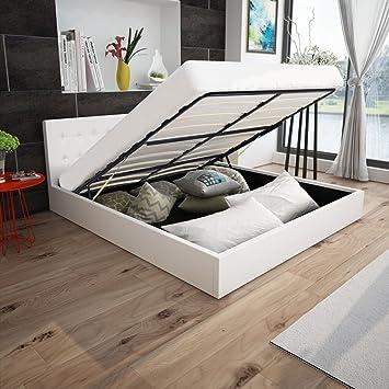5e5fb2661e Anself Polsterbett Doppelbett Bett Ehebett aus Kunstleder mit Bettkasten  180x200cm ohne Matratze Weiß