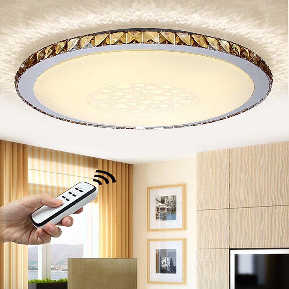 NatsenR 50W LED Kristall Deckenlampe Wohnzimmer Deckenleuchte Bernstein Wandlamp Voll Dimmbar Fernbedienung O680mm JX828 Amazonde Beleuchtung