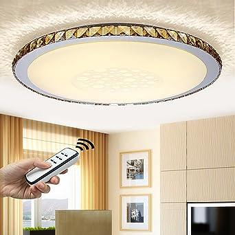 NatsenR 50W LED Kristall Deckenlampe Wohnzimmer Deckenleuchte Bernstein Wandlamp Voll Dimmbar Fernbedienung 680mm JX828