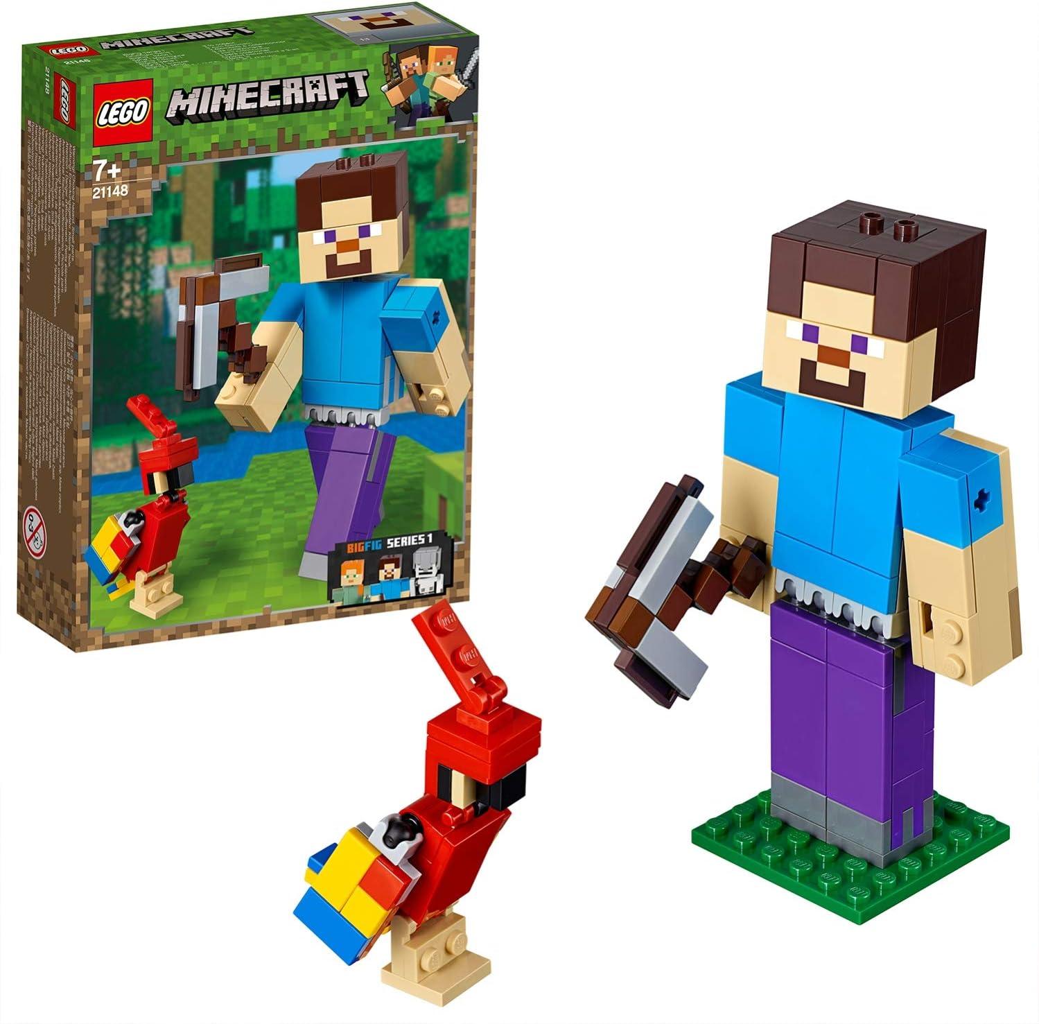 LEGO Minecraft - BigFig Minecraft: Steve con Loro, juguete de ...