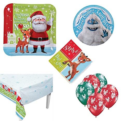 rudolph the red nosed reindeer christmas party supplies 8 guests large and small