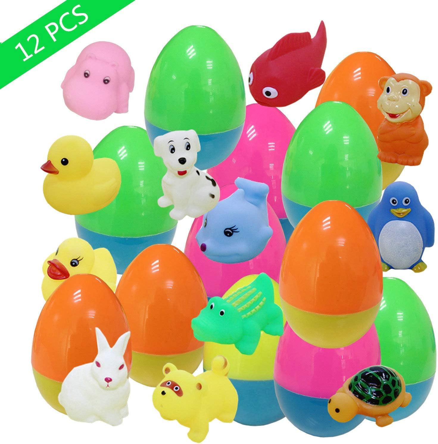 Easter Basket Stuffers Gifts Toy for Toddlers Kids Boys Girls KAZOKU 12 Pack Prefilled Plastic Easter Eggs Filled with Toys Inside for Bulk Easter Egg Hunt Games
