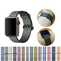 Blingbox fascia in tessuto di nylon da polso sportivo tessuto nylon bracciale cinturino per iWatch 3/2/1nero per Apple Watch 38mm–Style 1, Nylon, Style 5, Apple Watch 42mm