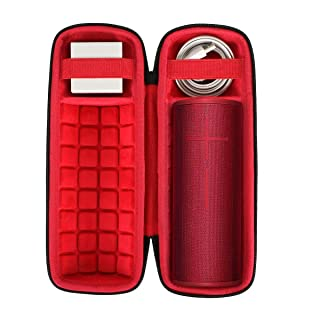 co2crea Hard Travel Case for Ultimate Ears UE Boom 3 Portable Bluetooth Wireless Speaker (Black Case + Inside Sunset Red)