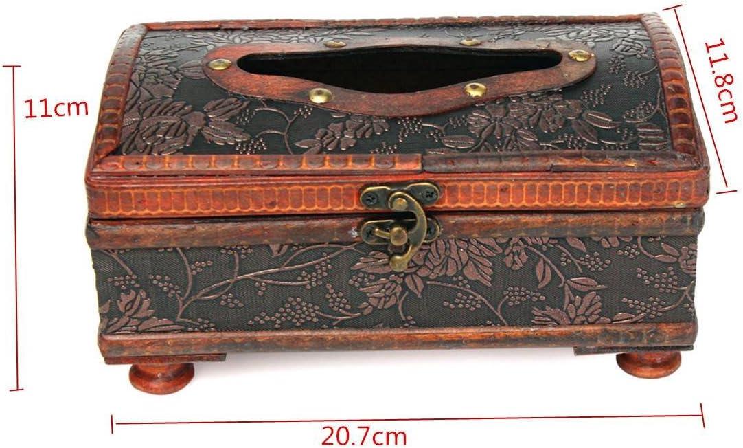 El Rey DO manera Retro de cobre anillo de madera marrón clinex caja para decoración rojo 20,7 x 11,8 x 11 cm: Amazon.es: Hogar