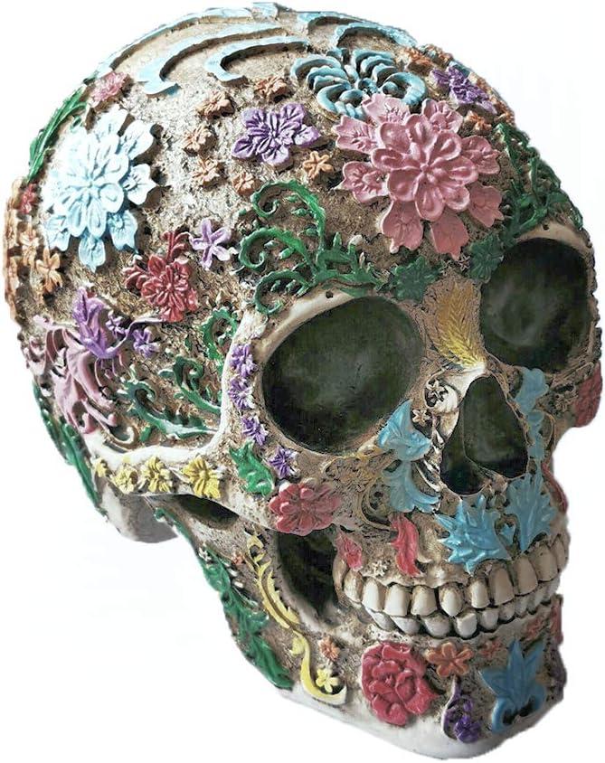 Tvoip 1Pcs Resin Craft Skull Statues & Sculptures Garden Statues Sculptures Skull Ornaments Creative Colorful DIY Art Carving Statue