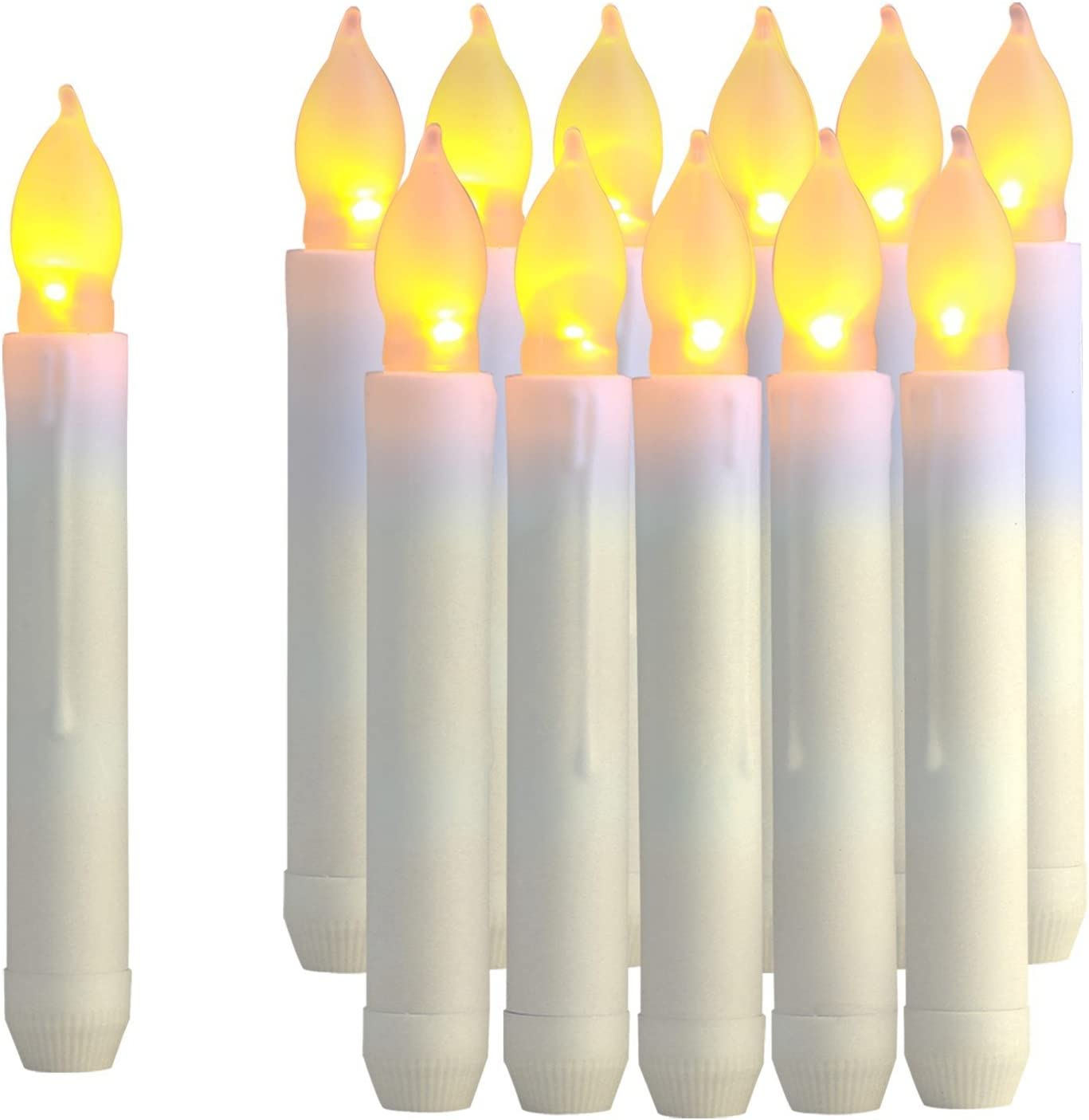 Raycare 12PCS LED Taper Candle Lights, Harry Potter Floating Candles, Battery Operated Tapered Candles for Themed Party, Church, Christmas Decorations