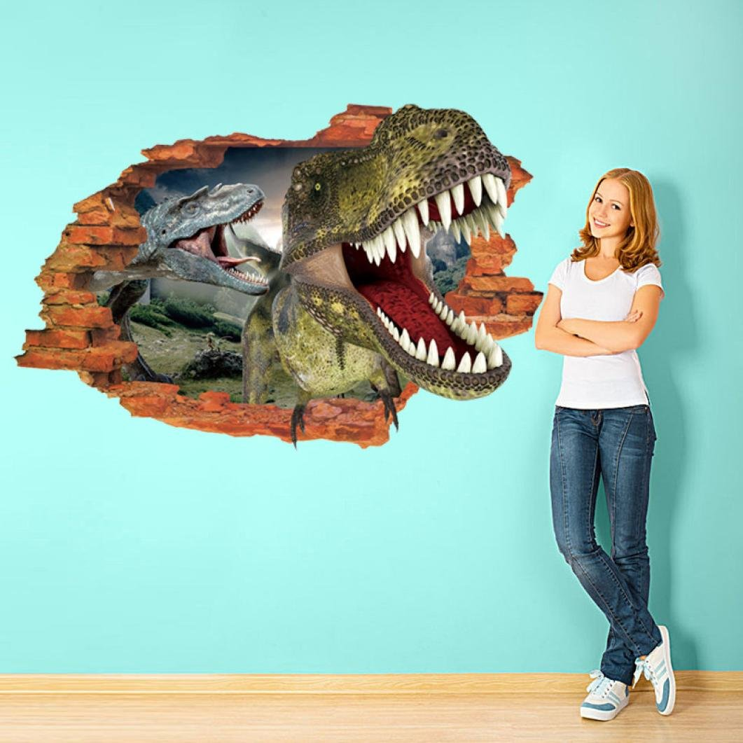 Dingji 3D Wall Sticker, 3D Cartoon Dinosaur Coming Out The Wall Stickers Mural Quotes Art Home Decor