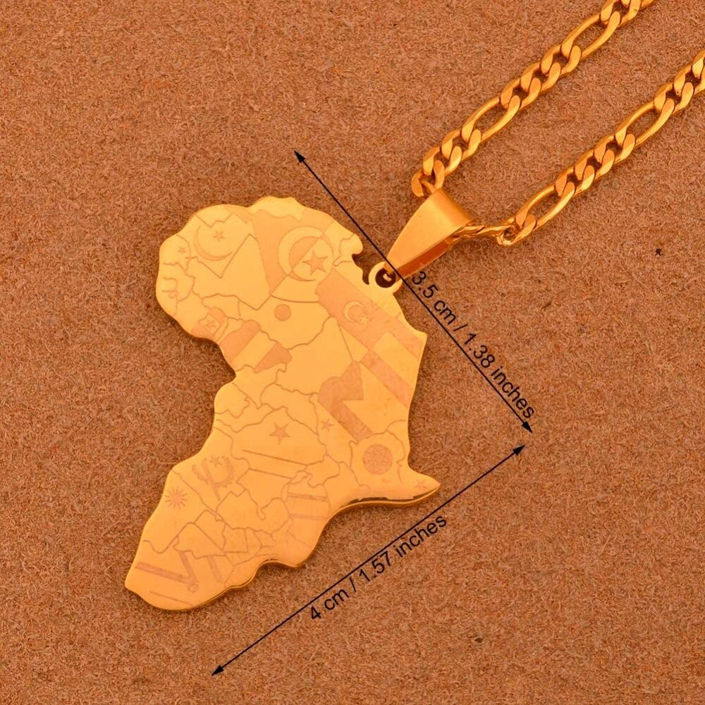 Africa Map Pendant Necklace for Women Men Silver//Gold Color Ethiopian Jewelry LTH12 Pendant Necklace with 60cm Thin Chain